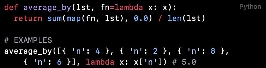 Python代码阅读(第1篇):列表映射后的平均值