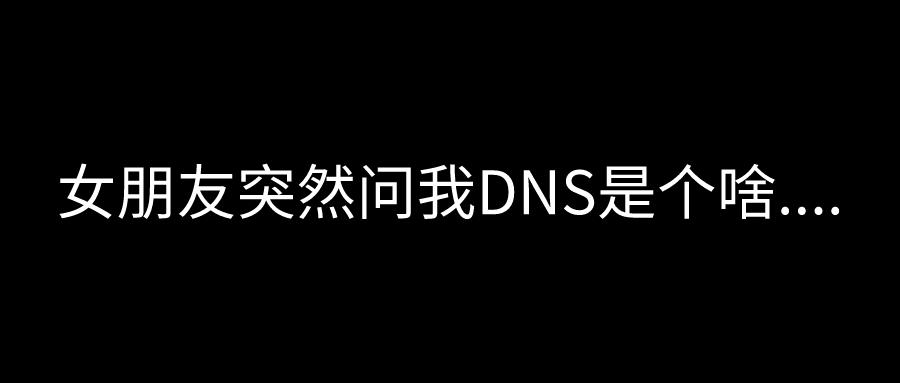 女朋友突然问我DNS是个啥....