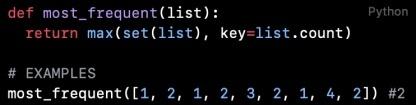 Python代码阅读(第39篇):获取列表出现频率最高的元素