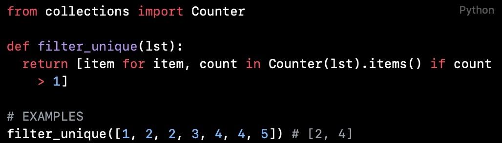 Python代码阅读(第4篇):过滤掉列表中的唯一值