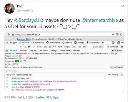 """巴克莱银行用网页时光机当作某些JS代码的""""CDN"""""""